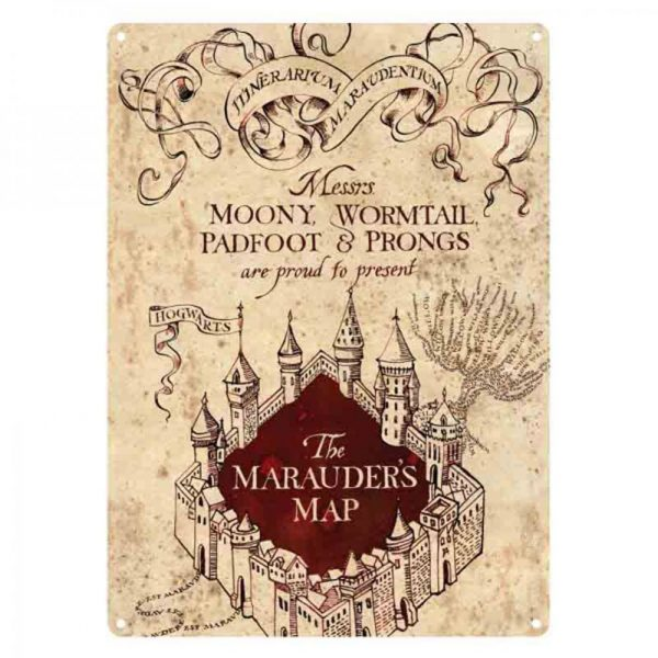 Harry Potter ~ Small Tin Sign ~ MARAUDER'S MAP