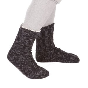 Mens Chunky Knit Fully Fleece Lined Winter Slipper Socks