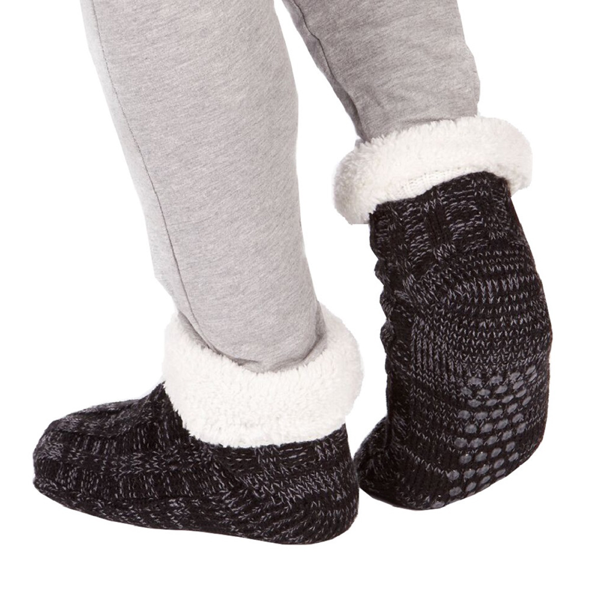 Grey Mens Chunky Knit Fully Fleece Lined Slipper Lounge Socks with Gripper Soles