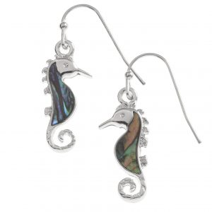 Tide Jewellery inlaid Paua Shell Seahorse Hook Earrings
