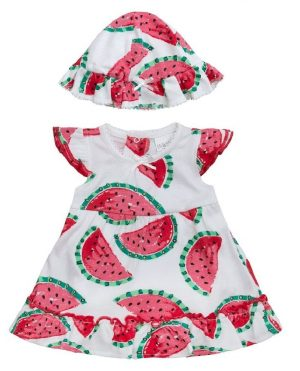 Babies Romper Dress and Hat Set