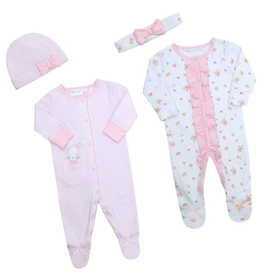 BABY TOWN Babies Sleepsuit with Matching Headwear and Integrated Scratch Mittens