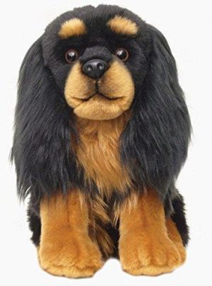 Plush Dog CAVALIER BLACK and TAN
