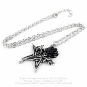 Alchemy Pewter Pendant (Ruah Vered) Rose Pentagram