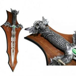 FANTASY SKULL AND DRAGON DAGGER WITH WOODEN PLAQUE