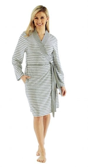 Ladies Soft Lightweight Striped Summer Jersey Robe