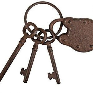 Three Cast Iron Keys with Padlock