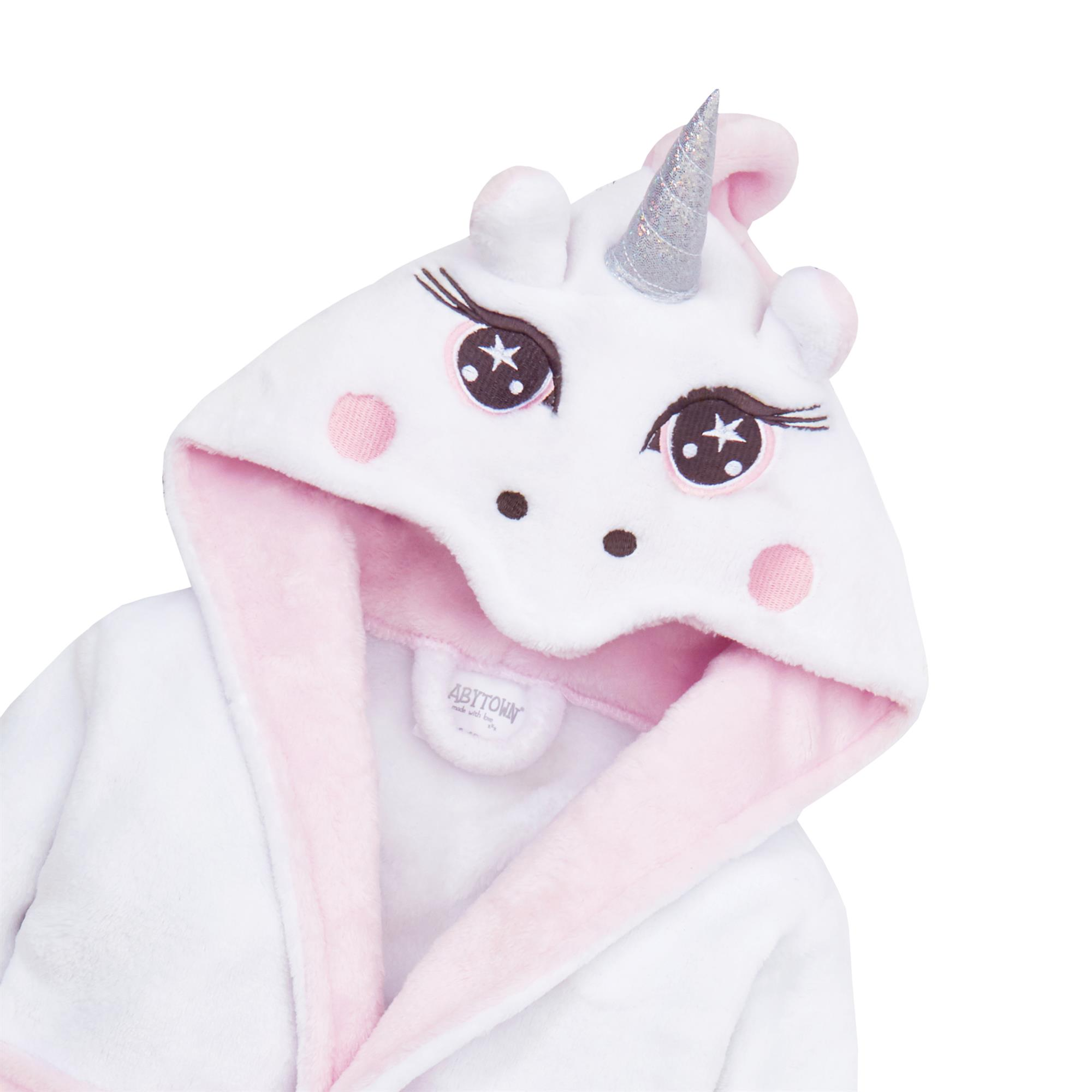 Babies Dressing Gown with Novelty Unicorn Hood