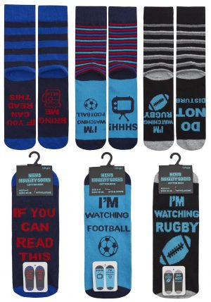 Mens Slogan Sole Design Novelty Socks