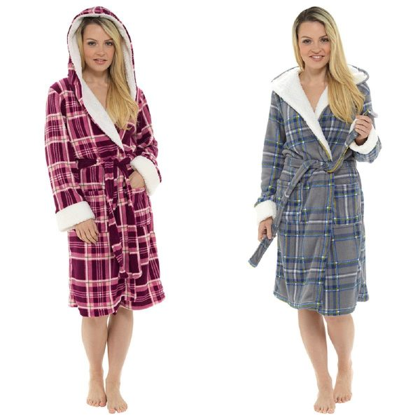 Ladies Check Print Hooded Fleece Robe with Sherpa Trim