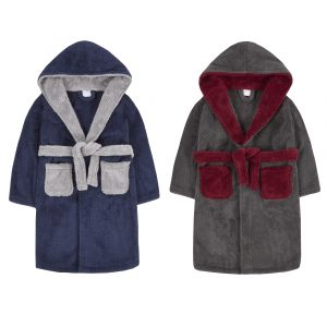 Childrens Two Tone Snuggle Fleece Dressing Gown