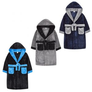 Childrens Two Tone Fleece Dressing Gown
