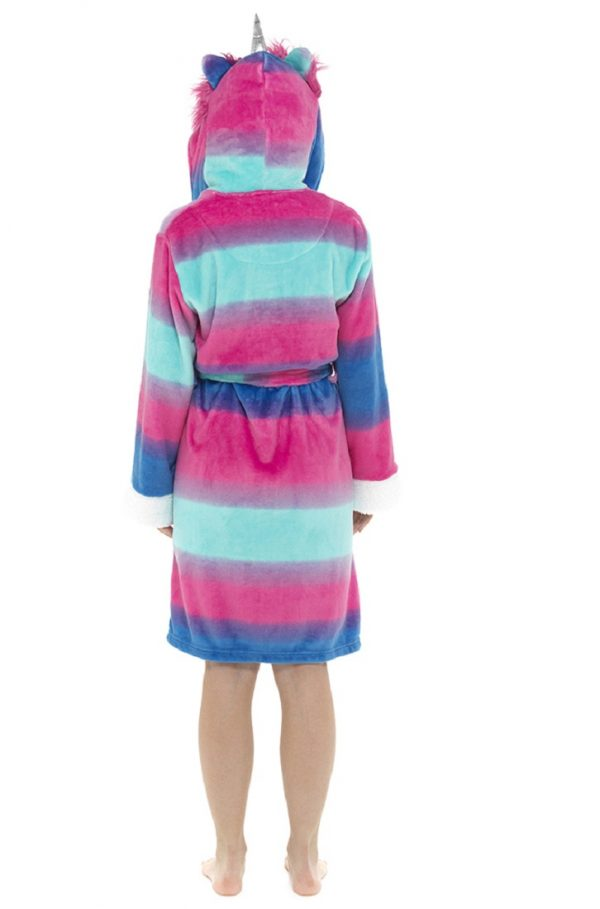 Ladies Multicoloured Dressing Gown with Unicorn Hood