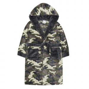 Childrens Camo Plush Fleece Dressing Gown