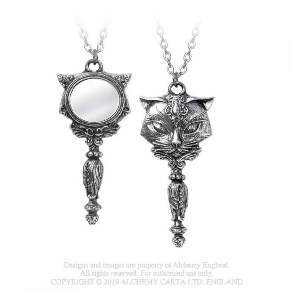 Alchemy Gothic Sacred Cat Vanity Necklace Silver Coloured