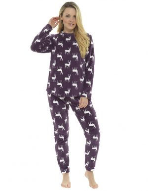 Ladies Full Fleece All Over Stag Print Pyjama Set