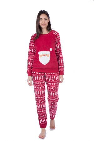 Ladies Red Santa Design Fleece Pyjama Set