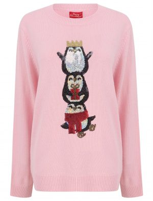 Ladies Sequin Penguin Christmas Jumper