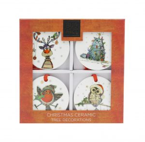 Set of 4 Ceramic Christmas Tree Decorations
