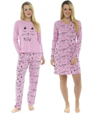 Ladies Meow Cat Design Printed Cotton Nightwear Range