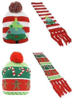 Adults Light Up Christmas Hat and Scarf Set