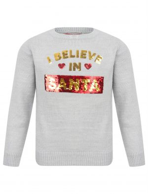 Childrens Knitted I Believe In Santa / Unicorns Christmas Jumper