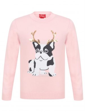 Girls Frenchie Reindeer Christmas Jumper