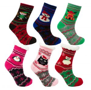 Kids Novelty Christmas Fleece Lined Slipper Socks