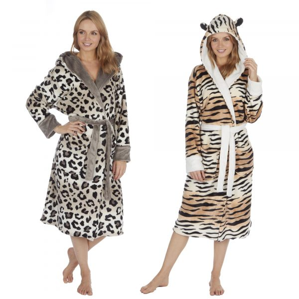 Ladies Two Tone Animal Print Soft Fleece Hooded Dressing Gown