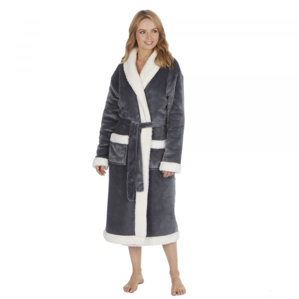 Ladies Luxury Two Layer Flannel Fleece and Sherpa Fleece Dressing Gown