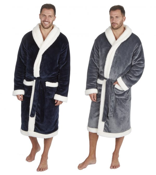 Mens Luxury Two Layer Flannel Fleece and Sherpa Fleece Dressing Gown