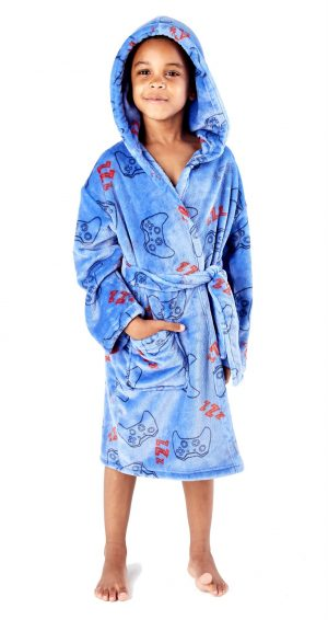 Childrens Blue Gaming Print Dressing Gown