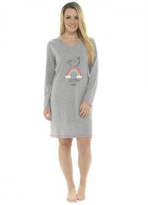 Ladies Unicorn Power Long Sleeve Nightdress