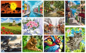 Wizardi 40cm x 50cm Paint By Numbers Kit on Stretched Canvas