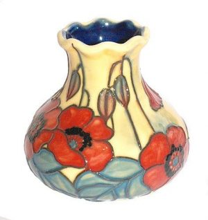 Old Tupton Ware Yellow Poppy Vase