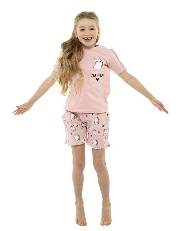 Childrens Dog or Cat Print Shorts Pyjama Set