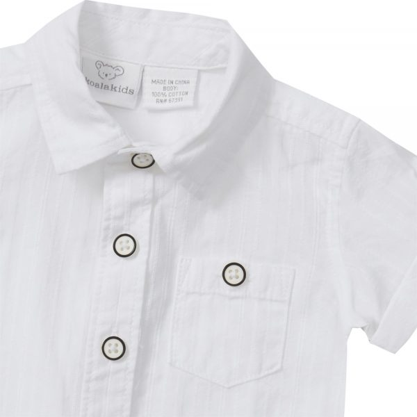 Boys Short Sleeve Plain White Shirt
