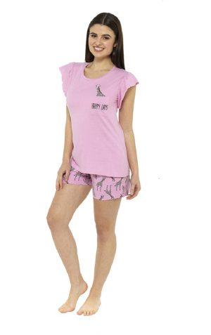 Ladies Pink Fun Giraffe Print Shorts Pyjama Set