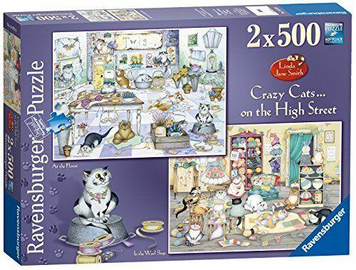 New addition to the hugely popular Crazy Cats range.High quality 2 x 500 piece cardboard jigsaw puzzle.The finished puzzle measures 49 x 36 cm when complete.Suitable for ages 10 years and up.Made from strong premium grade cardboard, with linen finish print to minimise glare on puzzle image.