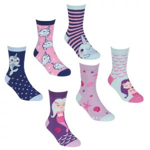 Girls 6 Pairs Mermaid and Narwhal Theme Cotton Rich Socks