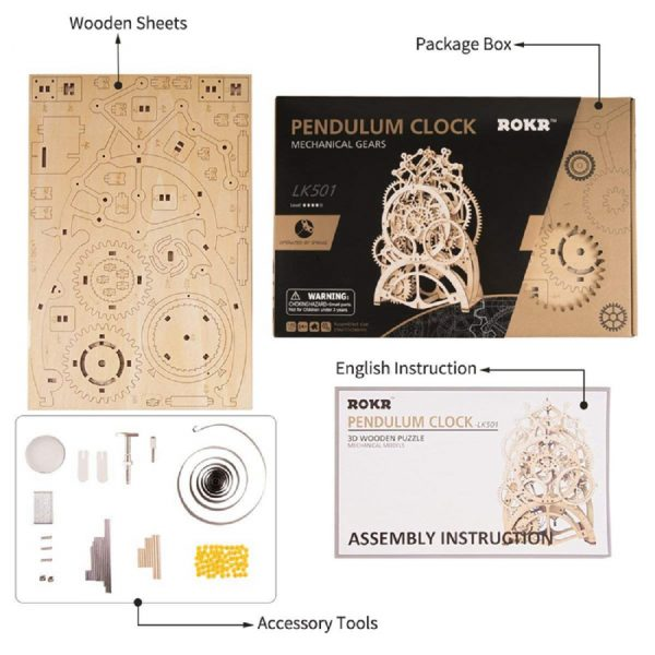 Rokr 3D Spring Operated Wooden Puzzles With Mechanial Gears