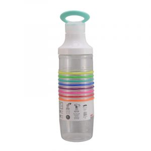 Staying hydrated is an important part of being healthy; Zak! Designs' innovative HydraTrak bottle with Chug Lid helps keep track of water intake.Monitor your water intake with included rainbow bands; one for every bottle of water you drink, wear them as bracelets or roll them up the bottle.Soft touch carry-loop integrated in lid slips over neck for convenient lid storage; threads are on inside of bottle opening for smooth drinking edge.Screw-on lid attaches securely for leak proof storage; perfect for use at home, in the office, at the gym or on the go; fits in most cup holders.Holds 24 oz. and is made of Tritan plastic that is durable and BPA-free; top rack dishwasher safe, do not microwave, bottle size approx : 25cm x 8cm x 8cm.