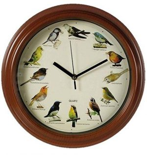 Singing bird clock.Plays the tune of a different bird on the strike of every hour.Features 12 different birds and their Latin name, 12 o`clock - Cuculus Canorus.1 o`clock - Tarsiger Cyanurus.2 o`clock - Turdus Chrysolaus.3 o`clock - Cittia Diphone.4 o`clock - Zosterops Japonica.5 o`clock - Emberiza Cioides.6 o`clock - Ficedula Narcissina.7 o`clock - Cyanoptla Cyanomeiana.8 o`clock - Erithacus Akahige.9 o`clock - Terpsiphone Atrocaudata.10 o`clock - Emberiza Sulphurata.11 o`clock - Parus Major.Requires 3 x AA batteries (not included).Size: 32cm x 5.5cm approx.