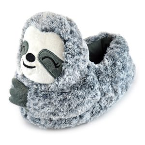 Ladies Plush Grey Sloth Slippers