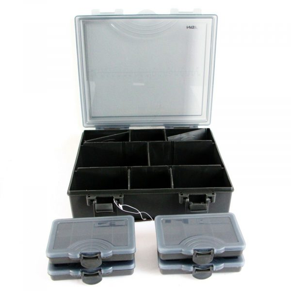 NGT Fishing Tackle Box Including 4 Fixed Compartment Bit Boxes