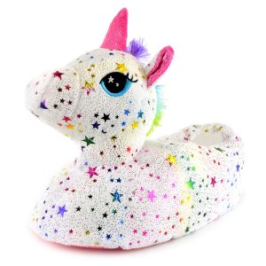 Ladies Plush Rainbow Star Unicorn Slippers