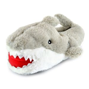 Mens Novelty Plush Grey Shark Slippers
