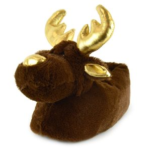 Ladies Plush Novelty Christmas Reindeer Slippers