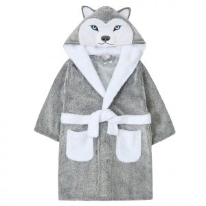 Childrens Novelty Frosted Fleece Husky Dog Dressing Gown