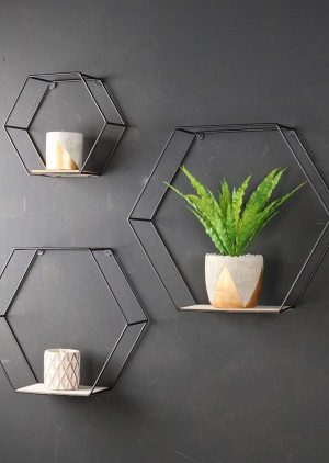 Hexagon Wall Shelves Set of 3